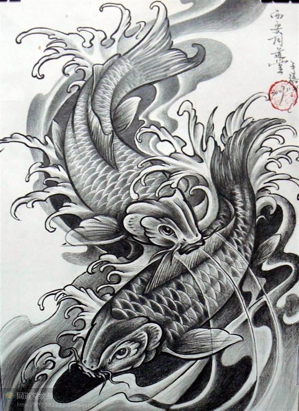 纹身鱼素描手稿分享展示